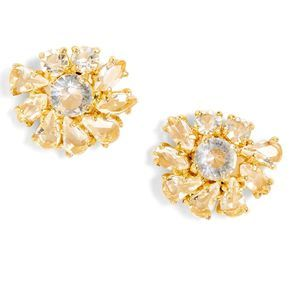 J Crew Tutu White Crystal Stud Earrings